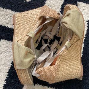 Viscata Barcelona wedge tie sandals ribbon